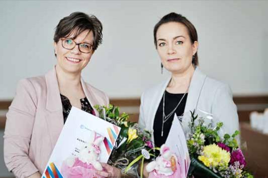 Terveydenhoitajapäivät 2019: Tänä vuonna Ainu-stipendillä palkitut terveydenhoitajat Niina Happonen ja Pauliina Rissanen.